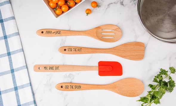 Personalized Four-Piece Beechwood Utensil Set -  - Qualtry