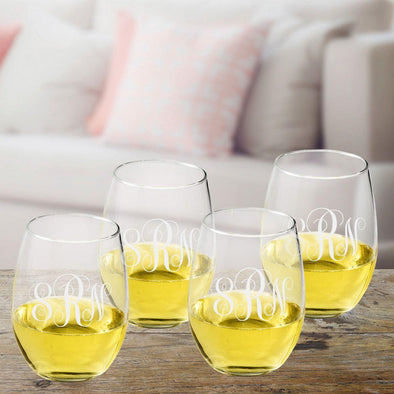 Personalized Interlocking Monogram Stemless Wine Glass Set -  - JDS
