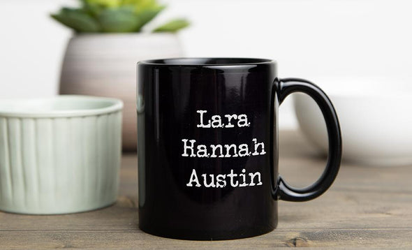 Personalized Family Name Mugs - 11 oz / Black - Qualtry
