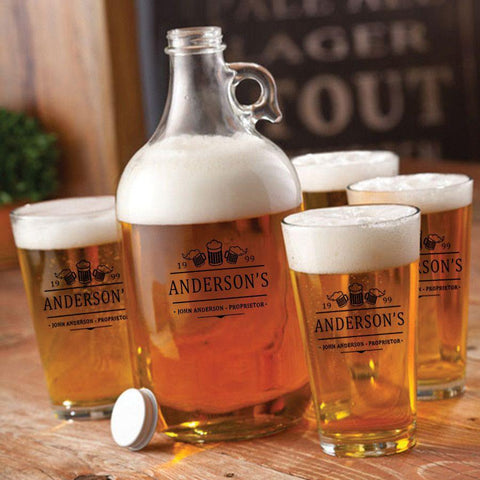 Personalized Growler - 4 Pint Glasses - Growler Set - 64 oz. - 3Beers - Personalized Barware - AGiftPersonalized