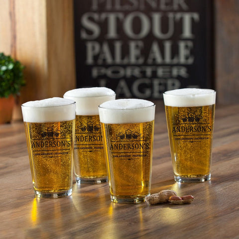 Personalized Pint Glasses - Set of 4 - Groomsmen Gifts - 3Beers - Personalized Barware - AGiftPersonalized
