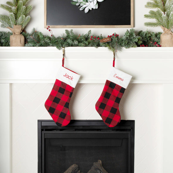 Personalized Plaid Christmas Stockings - Red And Black Plaid - Qualtry