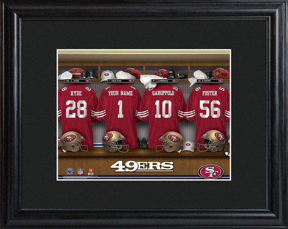 Personalized NFL Locker Sign w/Matted Frame - All Teams - 49ers - JDS
