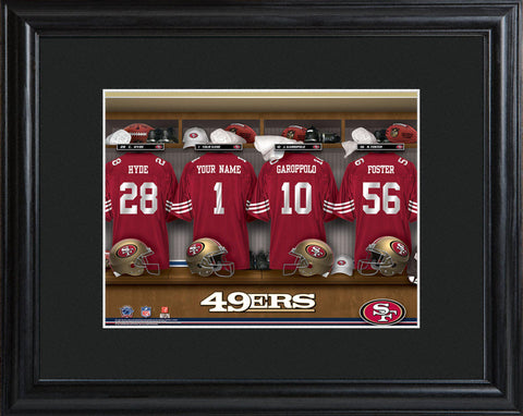 Personalized NFL Locker Sign w/Matted Frame - All Teams - 49ers - Professional Sports Gifts - AGiftPersonalized
