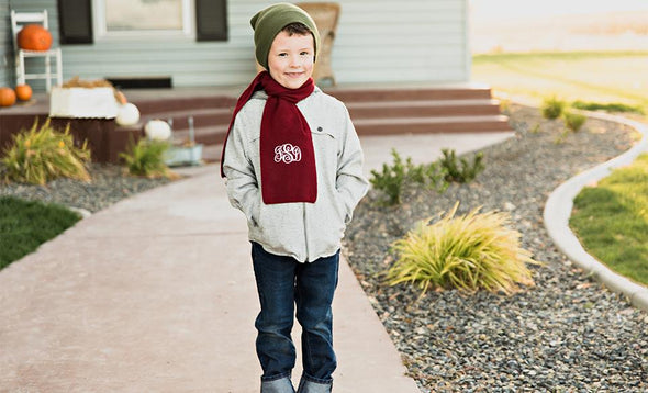 Personalized Children's Knit Scarves - Maroon - Qualtry