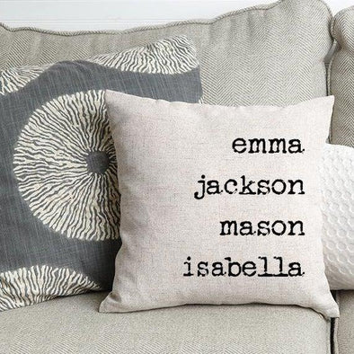 Family Names Personalized Throw Pillow Cover -  - JDS