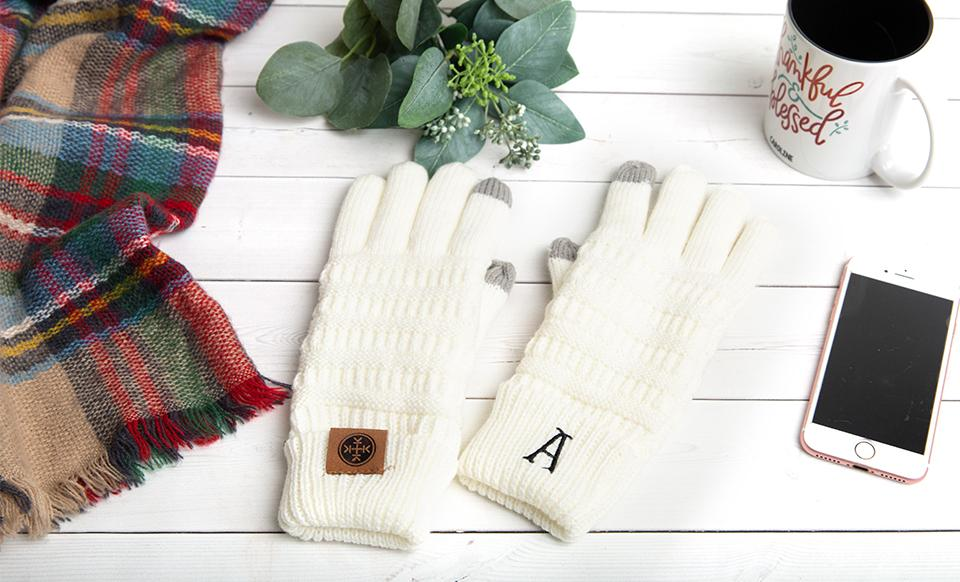 Personalized Monogrammed Knit Gloves