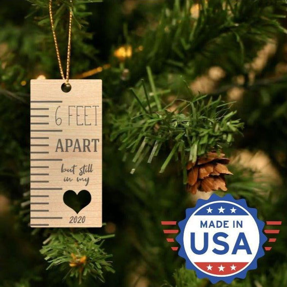 Personalizable Laser Engraved Christmas 2020 Ornaments - 6 Feet Apart - Qualtry