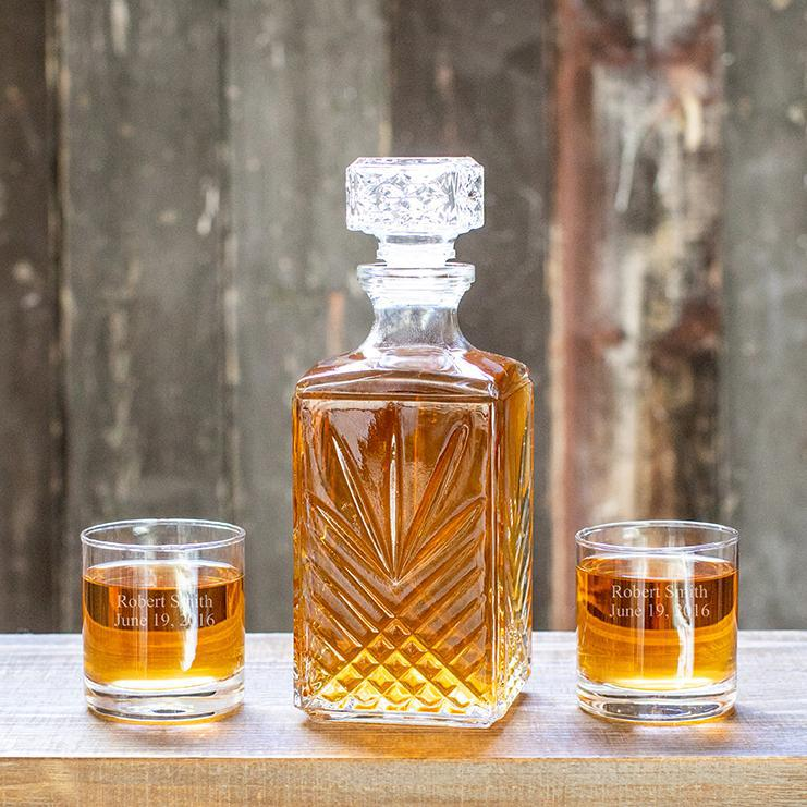 Personalized Square Decanter Set with 2  Rocks Glasses