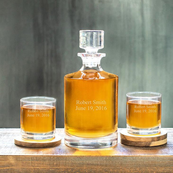 Kingsport Personalized Decanter Set with 2 Whiskey Glasses - 30 oz. - 2Lines - JDS