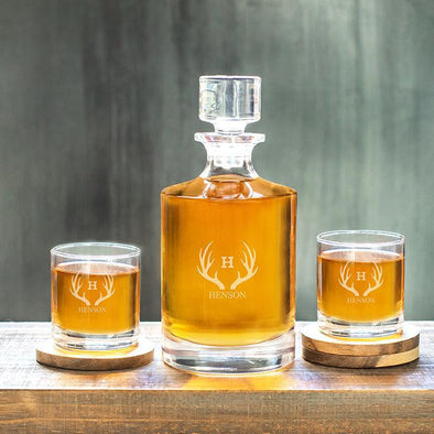 Kingsport Personalized Decanter Set with 2 Whiskey Glasses - 30 oz. - Antlers - JDS