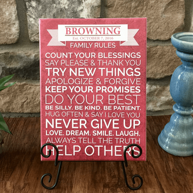 Personalized Family Rules Signs (9x12) -  - Qualtry