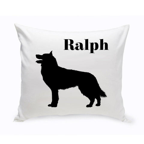 Monogrammed Dog Throw Pillow -  Classic Silhouette - Collie - Pet Gifts - AGiftPersonalized
