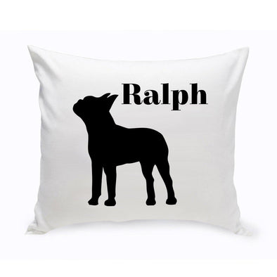 Personalized Throw Pillow - Dog Silhouette - Personalized Dog Gifts - BostonTerrier - JDS