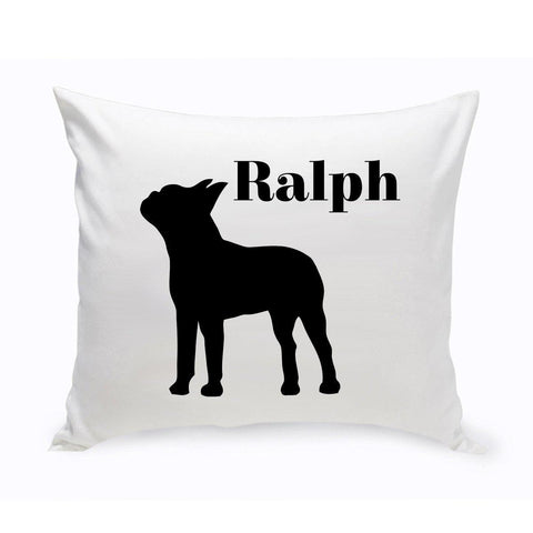 Monogrammed Dog Throw Pillow -  Classic Silhouette - BostonTerrier - Pet Gifts - AGiftPersonalized