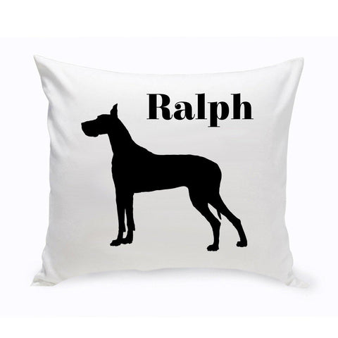 Monogrammed Dog Throw Pillow -  Classic Silhouette - GreatDane - Pet Gifts - AGiftPersonalized