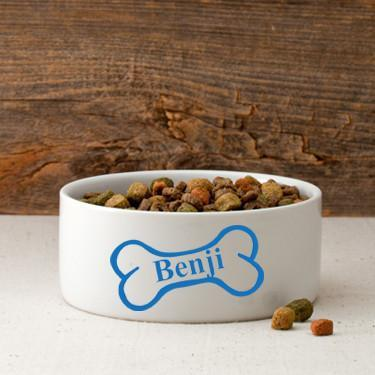 Personalized Small Dog Bowl - Bright Treats - Blue - JDS