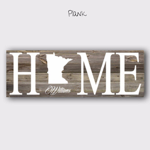 Personalized Home State Canvas Sign - Brown - JDS
