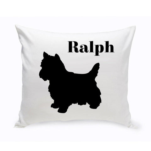 Monogrammed Dog Throw Pillow -  Classic Silhouette - YorkshireTerrier - Pet Gifts - AGiftPersonalized