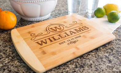 Personalized 11x14 Bamboo Cutting Board with Rounded Edge (Modern Collection) -  - Qualtry
