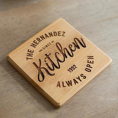Personalized Set of 4 Thick Bamboo Coasters – Modern Collection -  - Qualtry
