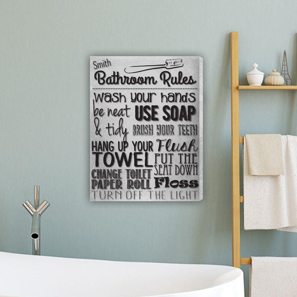 Bathroom Rules Personalized Canvas Print - White - JDS