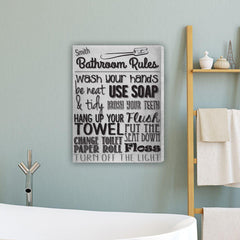 Bathroom Rules Personalized Canvas Print - White