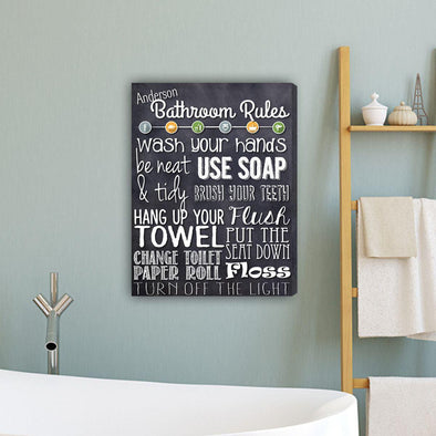 "Bathroom Rules Personalized Canvas Print 18""x24"" - Navy - JDS"