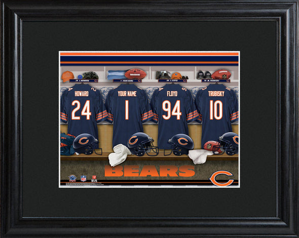 Personalized NFL Locker Sign w/Matted Frame - All Teams - Bears - JDS