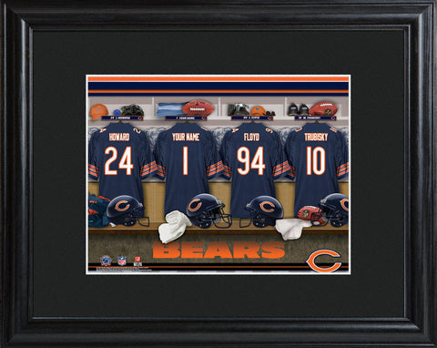 Personalized NFL Locker Sign w/Matted Frame - All Teams - Bears - Professional Sports Gifts - AGiftPersonalized
