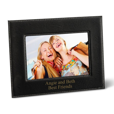 "Personalized Black 5x7 Vegan Leather Frame - 5 ""x 7"" Personalized Picture Frame - All - Black - JDS"
