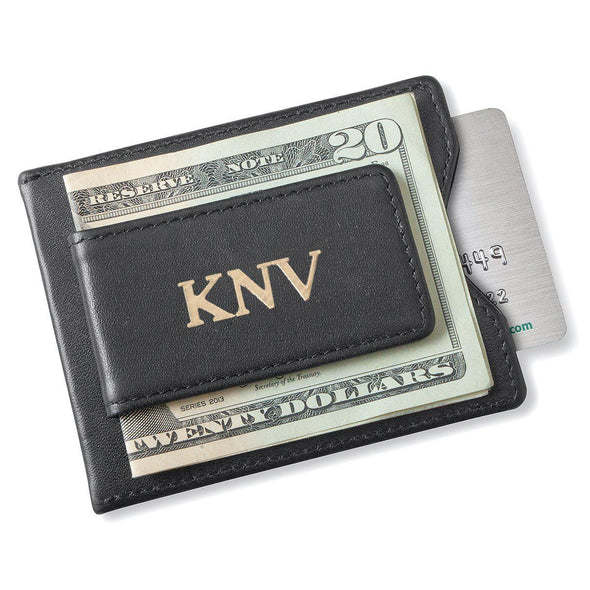 Personalized Black Magnetic Money Clip Wallet - Gold - JDS