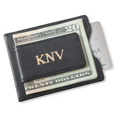 Personalized Wallet - Magnetic Money Clip - Black - Gold
