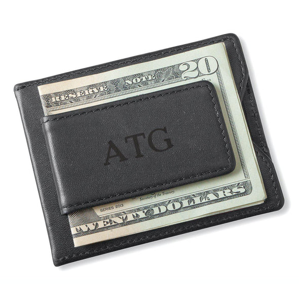 Personalized Black Magnetic Money Clip Wallet - Blind - JDS