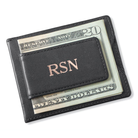 Personalized Wallet - Magnetic Money Clip - Black - RoseGold