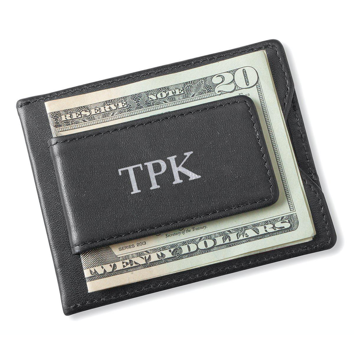 Personalized Black Magnetic Money Clip Wallet