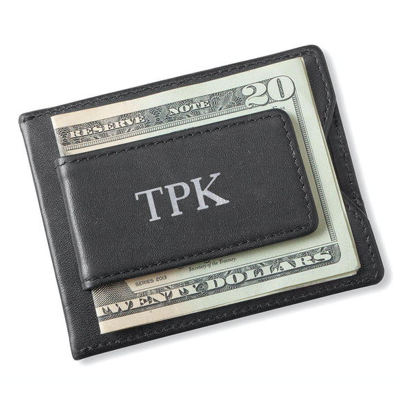 Personalized Black Magnetic Money Clip Wallet - Silver - JDS