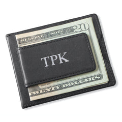 Personalized Wallet - Magnetic Money Clip - Black - Silver