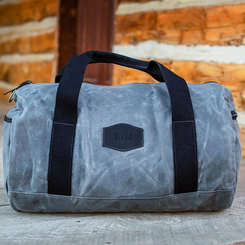 Personalized Waxed Canvas Charcoal Duffle Bag