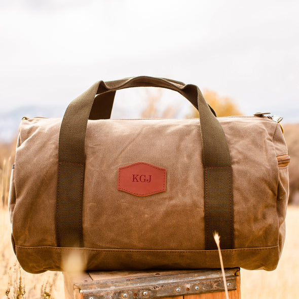 Personalized Waxed Canvas Field Tan Duffle Bag - Blind - JDS