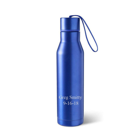 Personalized Blue Double Wall Insulated Stainless Steel Water bottle - 2Lines - Travel Gear - AGiftPersonalized
