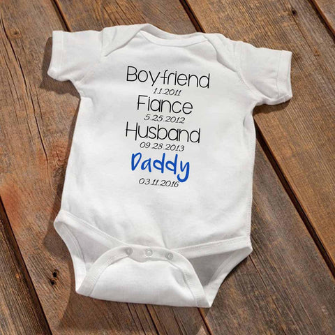 "Personalized ""Daddy To Be"" Baby Announcement Bodysuit -"