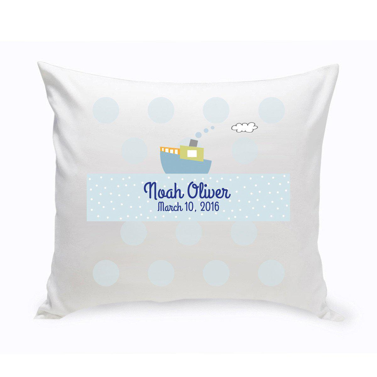Personalized Boys Boat Baby Nursery Throw Pillow