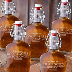 Set of 5 Engraved Vintage Glass Flasks - Bootleggers - Glassware - AGiftPersonalized