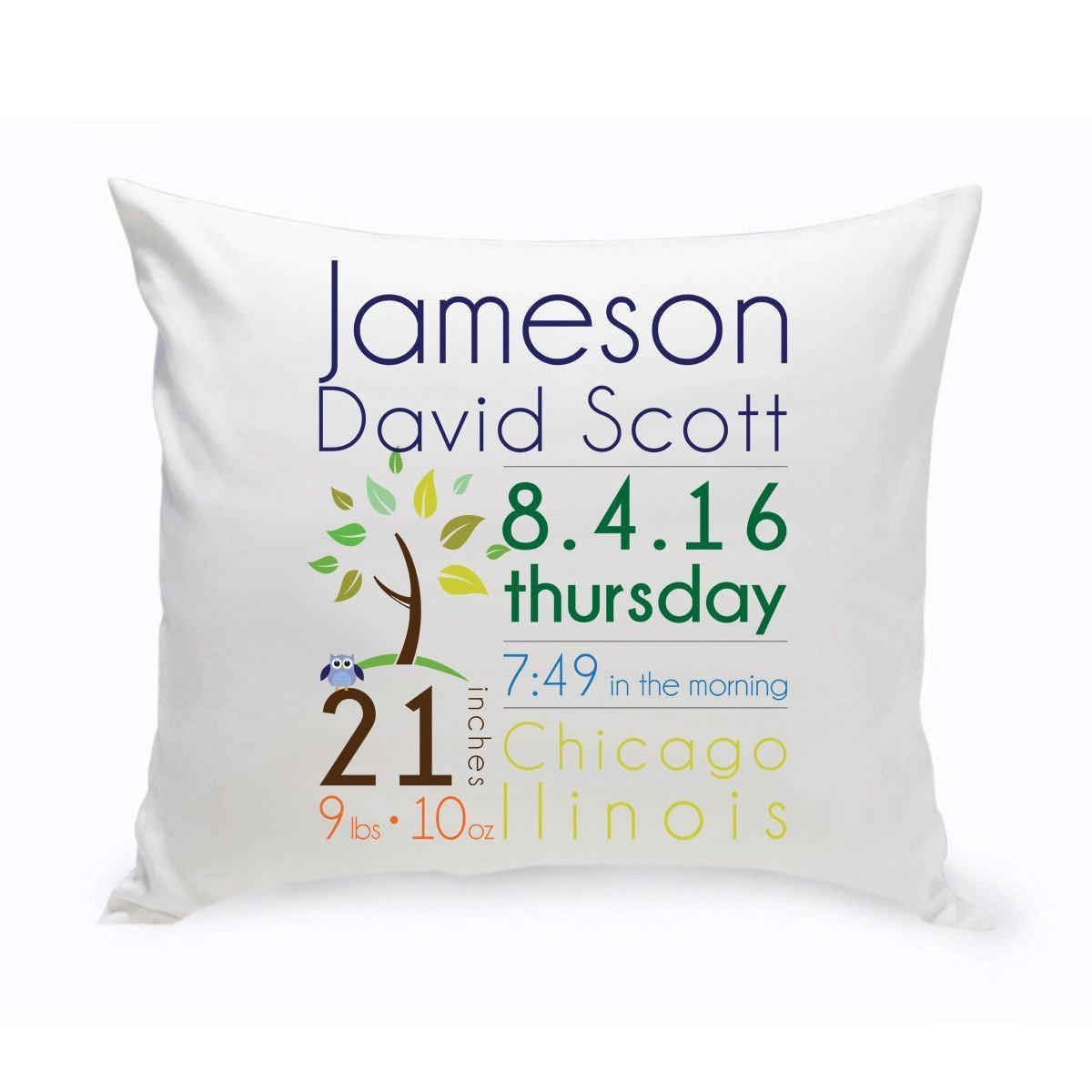 Personalized Baby Boy Announcement Throw Pillows