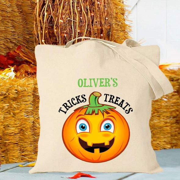 Personalized Trick or Treat Bags - Halloween Treat Bags - Gifts for Kids - Pumpkin - JDS