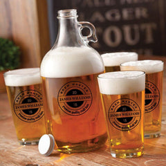 Personalized Growler - 4 Pint Glasses - Growler Set - 64 oz. - BrewMaster - Personalized Barware - AGiftPersonalized
