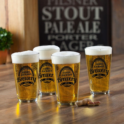 Personalized Pint Glasses - Set of 4 - Groomsmen Gifts - Brewery - Personalized Barware - AGiftPersonalized