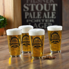 Personalized Pub Glass Set - Set of 4 - BrewMaster