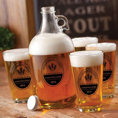 Personalized Growler - 4 Pint Glasses - Growler Set - 64 oz. - BrewingCo - Personalized Barware - AGiftPersonalized